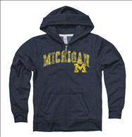 Michigan Wolverines Women's Heather Navy Cheer Ring Spun Full-Zip Hooded Sweatshirt