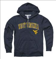 West Virginia Mountaineers Women's Heather Navy Cheer Ring Spun Full-Zip Hooded Sweatshirt