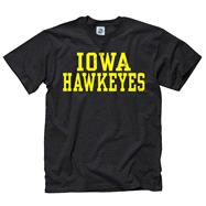 Iowa Hawkeyes Black Stacked Text Neon T-Shirt