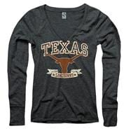 Texas Longhorns Women's Heather Black Knockout Ring Spun Long Sleeve V-Neck T-Shirt