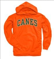 Miami Hurricanes Orange Bold Arch Mascot Hooded Sweatshirt