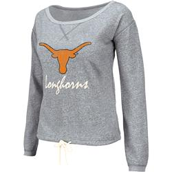 Texas Longhorns Light Heather Grey Women's Vintage Heritage Scoop Neck Fleece Sweatshirt