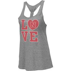 Nebraska Cornhuskers Heather Grey Women's Vintage Forget Me Knot Tri-Blend Tank Top