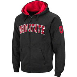 Ohio State Buckeyes Straight Chest, Left Arm Logo FZ Hood -Charcoal