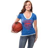 Kansas Jayhawks Women's Royal Side Stripe Jersey Burnout V-neck T-Shirt
