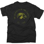 Iowa Hawkeyes Black Retro Mascot Rampage T-Shirt