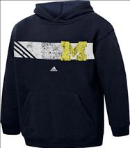Michigan Wolverines adidas Youth Navy Striped Glory Vintage Hooded Sweatshirt