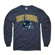 West Virginia Mountaineers Navy Football Helmet Long Sleeve T-Shirt