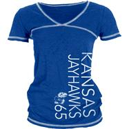 Kansas Jayhawks Women's Royal/White Burnout V-Neck T-Shirt