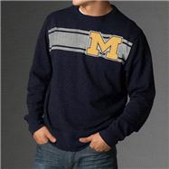 Michigan Wolverines Navy '47 Brand Letterman Crewneck Sweatshirt