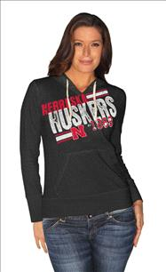 Nebraska Cornhuskers Women's Black 2 Deep Hooded Sweatshirt
