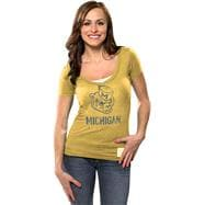 Michigan Wolverines Women's Gold Retro Brand Vintage Mascot Deep V-neck T-Shirt