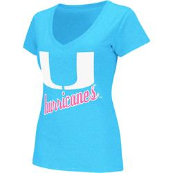 Miami Hurricanes Women's Glow Neon V-Neck T-Shirt