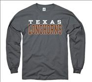 Texas Longhorns Charcoal Straight Line Long Sleeve T-Shirt