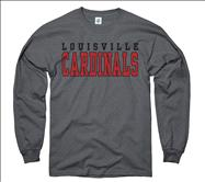 Louisville Cardinals Charcoal Straight Line Long Sleeve T-Shirt