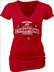 Louisville Cardinals Women's 2012 Big East Conference Football Champions Survey V-Neck T-Shirt