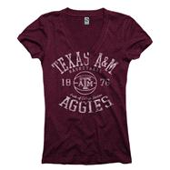 Texas A&M Aggies Maroon Women's Sporty Hoops Deep V-Neck T-Shirt