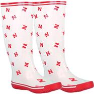 Nebraska Cornhuskers Women's White/Red All-Over Print Rubber Rain Boots