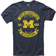 Michigan Wolverines Heathered Navy Rockers Ring Spun T-Shirt