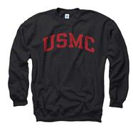 US Marine Corp Black Arch Crewneck Sweatshirt