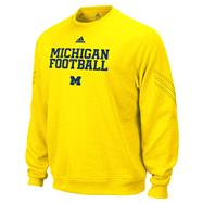 Michigan Wolverines Gold adidas Practice Stitch ClimaWarm Crewneck Sweatshirt