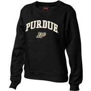 Purdue Boilermakers Women's Black Tackle Twill Crewneck Sweatshirt
