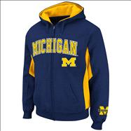 Michigan Wolverines Navy Turf Full-Zip Hooded Sweatshirt