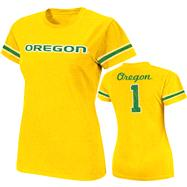Oregon Ducks Gold Women's Galaxy Jersey T-Shirt