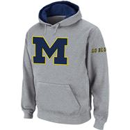 Michigan Wolverines Heather Grey Twill Pep Rally Hooded Sweatshirt