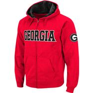Georgia Bulldogs Red Twill Tailgate Full-Zip Hooded Sweatshirt