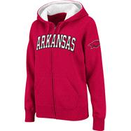 Arkansas Razorbacks Women's Cardinal Twill Tailgate Full-Zip Hooded Sweatshirt