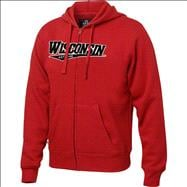 Wisconsin Badgers Red Twill Tailsweep Full-Zip Hooded Sweatshirt