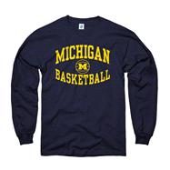 Michigan Wolverines Navy Reversal Basketball Long Sleeve T-Shirt