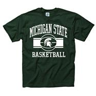 Michigan State Spartans Green Wide Stripe Basketball T-Shirt