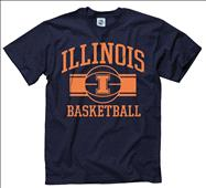 Illinois Fighting Illini Navy Wide Stripe Basketball T-Shirt