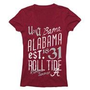 Alabama Crimson Tide Women's Crimson Landslide Ring Spun V-Neck T-Shirt
