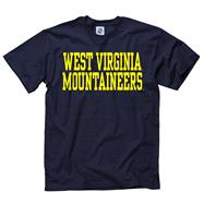 West Virginia Mountaineers Navy Stacked Text Neon T-Shirt