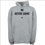 Notre Dame Fighting Irish Youth Grey adidas Sideline Hooded Sweatshirt