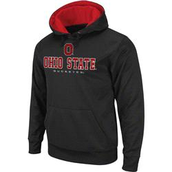 Ohio State Buckeyes Logo Over Straight Pullover Hood -Charcoal
