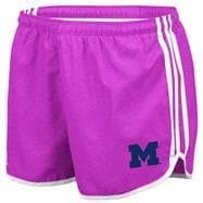 Michigan Wolverines adidas Heathered Pink Women's 3-Stripe Princess Shorts