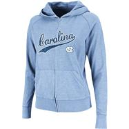North Carolina Tar Heels Women's Blue Twist Long Sleeve Full-Zip Hooded Slub T-Shirt