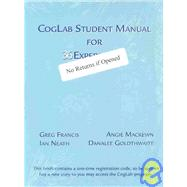 Coglab Student Manual for Thirty-Two Experiments, 2002-2003
