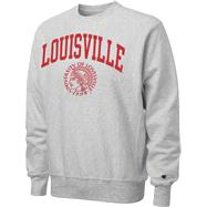 Louisville Cardinals Retro Grey Champion Seal Reverse Weave Crewneck Sweatshirt