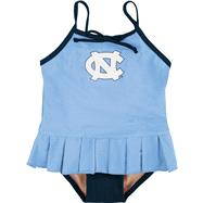 North Carolina Tar Heels Toddler Cheerleader in Training Swimsuit