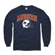 Auburn Tigers Navy Football Helmet Long Sleeve T-Shirt