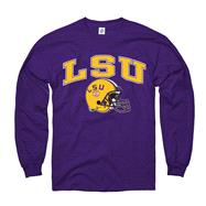 LSU Tigers Purple Football Helmet Long Sleeve T-Shirt
