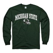 Michigan State Spartans Green Football Helmet Long Sleeve T-Shirt