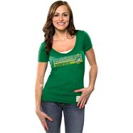 Oregon Ducks Women's Green Retro Brand Vintage Logo Deep V-neck T-Shirt
