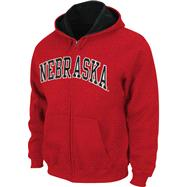 Nebraska Cornhuskers Red Tackle Twill Full Zip Hooded Sweatshirt