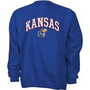 Kansas Jayhawks Youth Royal Tackle Twill Crewneck Sweatshirt
